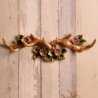 Wholesale clothing store hangers - European Style Decorative Wall Hanging Hook Antlers Creative Coat Rack Row Hook Nordic Bar Clothing Store Wall Decoration Hanger