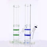 Wholesale Two Function Honeycomb Glass Percolator - Two function water bongs double blue honeycomb percolator water pipe 10.6 inch 14.4mm joint