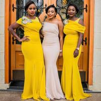vestidos de casamento amarelos mais tamanho venda por atacado-Amarelo Um Ombro Vestidos de Dama De Honra Para O Casamento Sul Africano Plus Size Sereia Maid Of Honor Vestidos Até O Chão Vestido de dama de honra