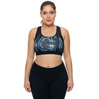de6240a7726a9 Women Large Big Plus Size Fitness Top Female Sport Brassiere Push Up  Stylish Printed Padded Running Yoga Workout Sports Bra 2018