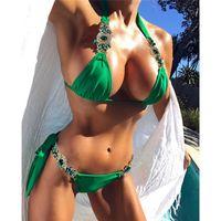 hermosos bikinis al por mayor-Venda de la playa Correa de cristal Halter Bikini Sexy Puro brillante traje de baño Brasileño Sexy traje de baño Hermoso partido de las mujeres traje de baño regalo
