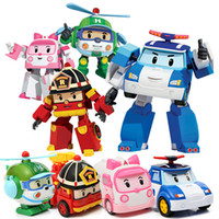 Wholesale kids robots - Hot DHL shipping deformation car poli Robocar Bubble toys 4 models South Korea Poli robot transformer Car Helly Amber Roy ABS With packag