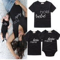 Wholesale Bebe T Shirts - Family matching clothes letter printed HOLA MAMA BEBE cotton T shirt short sleeve parent-child casual suits