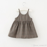 Wholesale Nice Kids Dresses - 2018 New arrival Girls Kids nice plaid pring sling dress kids girl casual dress soft comfortable all match dress