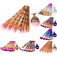 Wholesale fishing multi tool - 8pcs Mermaid Rainbow Makeup Brushes Sets Diamond Big Fish Tail Cosmetics Foundation Brush Beauty Tools Multipurpose Make up Brushes Kit