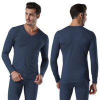 Wholesale cotton shirt men underwear online - Men Winter Warm Cotton V Neck Thermal Underwear Set Thicken Long Sleeve Tops Bottom High Quality