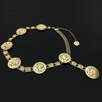 kadınlar için metal zincir bantları toptan satış-Kadınlar için yeni moda lüks tasarımcı marka zincir kemer Altın sikke yunuslar portre metal bel kemerleri Giyim aksesuarları 06