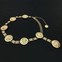 accessoires de mode taille achat en gros de-Nouvelle chaîne de luxe de la marque de créateurs de la marque de ceinture pour les femmes Dauphins de pièce d'or portrait ceintures de taille en métal Accessoires vestimentaires 06