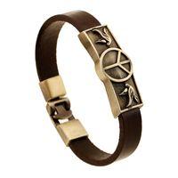 pulseiras artesanais paz venda por atacado-Pássaro Paz Pulseiras Para Homens ou Mulheres Vintage Liga Artesanal de Couro Genuíno Pulseira Amantes Pulseiras Personalidade Jóias