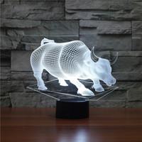 vaca indiana venda por atacado-3D animal touro vaca USB Lâmpada LED 7 cores mudam Deus gado Toque Tabela Night Light Indian Home Decor criativa Desk Dropshipping Atacado