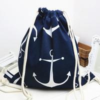ingrosso lenzuola organiche-YILE Cotone Lino con coulisse viaggio zaino libro studente scarpe borsa stampa ancoraggio blu B02