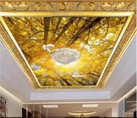 papel pintado auto-adhesivo del árbol al por mayor-Murales de techo 3d papel tapiz foto personalizado murales no tejidos papel tapiz para paredes 3 d Golden tree, white dove, zenith mural autoadhesivo