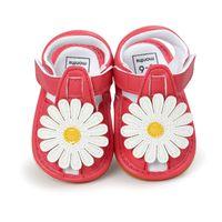 ingrosso primi camminatori rossi-Summer Baby Girl Flower Sandali First Walker Newborn Girl Princess Shoes Mocassini RedWhite Baby Sandals Per 0-18M Kids Girl.