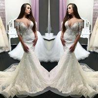 vestidos para venda on-line venda por atacado-Glamorous Lace Manga Curta Vestidos De Casamento Sheer Neck 2019 Sexy Vestidos De Noiva Venda Online Custom Made Robe de casamento