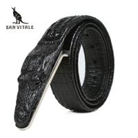 Wholesale brown wide belt buckle - Crocodile Belts for Men Cowhide Genuine Leather Luxury Brand Strap Male Buckle Belt Fancy Vintage for Jeans Cintos Dropshipping