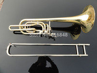 Wholesale gold trombone for sale - Group buy Can Customized Logo High Quality Brass Trombone Gold Lacquer Playing Musical Instrument Double Piston Bb Adjustable Tenor Trombone