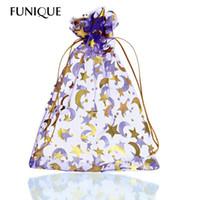bolsas de regalo estrella púrpura al por mayor-FUNIQUE 25 Unids 13 cm x 18 cm Púrpura MoonStar Organza Bolsas de Regalo Bolsas de Boda / Navidad Para Joyería Embalaje Regalo de Año Nuevo