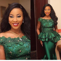 zuhair murad dress model großhandel-2018 Nigeria Stil Spitze Formale Abendkleider Türkei 3D Flora Appliques Perlen Smaragd Grün Formale Kleider Prom Party Wear