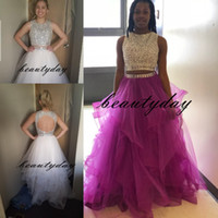Wholesale modest dresses for prom resale online - Modest Sparkly Prom Dress Two Pieces Quinceanera Dresses Masquerade Keyhole Back Bling Crystal Pageant Dresses For Sweet