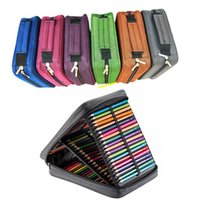 geniş kapasiteli kalem torbalar toptan satış-4 Katmanlar 120 Yuvaları Büyük Kapasiteli Kalem Kutusu 6 Renkler Tuval Okul Kalem Çantası Tutucu Sanat Malzemeleri Için Tutucu ile