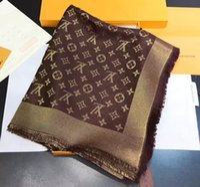 ouro pashmina venda por atacado-Brand New Design marca da mulher Cachecol de Alta Qualidade fio de ouro Clássico projeto quadrado da mulher lenços para o presente sem caixa H-220B