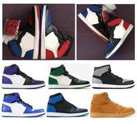 weizenkiste großhandel-Qualität 1 Top 3 Spiel Royal Blue Basketball-Schuhe Männer Frauen 1s Court Lila Pine Green Wheat Schatten Chicago Turnschuhe mit Kasten