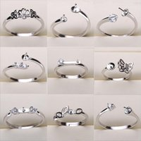 Wholesale Jewelry Adjustable - Pearl Ring Settings Sliver Plated Rings Settings 17 Styles DIY Rings Adjustable size Jewelry Settings Christmas Statement Jewelry