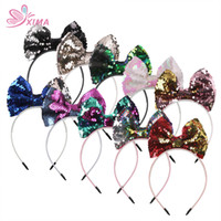 Wholesale change hair - XIMA 10pcs lot 5inch Women Reversible Change Color Sequin Bow with Teeth Hairband Girls Headband Hair Accessories for Party