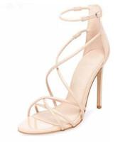 бежевые босоножки оптовых-2018 женские пряжки сандалии вырезают сандалии свадебные туфли с открытым носком на высоких каблуках туфли для вечеринок бежевого цвета