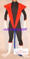ingrosso costume rosso nero supereroe-Nero / Rosso Lycra Spandex Superhero Suit Catsuit Costumi Unisex Fantasy Super Hero Body Suit Costumi Outfit Halloween Costumi Cosplay DH152