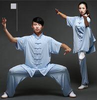 einheitlicher kampf großhandel-Unisex Baumwolle Seide Mischung Kung Fu Tai Chi Wushu ShaoLin Wudang Uniform Exersise tragen Bruce Lee Jackie Chan Jet Li Kampf Outfit