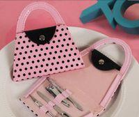 polka dot nägel großhandel-Maniküre-Set Tasche für Hochzeitsgeschenk Rosa Polka Dot Bag Clipper Pediküre Maniküre-Set Kit Werkzeuge Fingernagelknipser Schere Pflege Werkzeuge