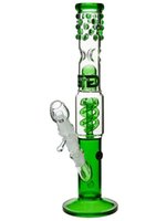 """Wholesale Unique Ice - Grace Glass Bong 18.8mm joint size spiral percolator water pipe 15"""" with ice notches unique style Green color"""