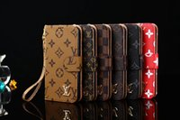 Wholesale Galaxy Pocket Case - Luxury Grid PU Leather Wallet Flip Cover For iPhone X 8 8plus 7 6 6s Plus Brands Style Case for Galaxy S8 S7 egde Note8 Lanyard cases