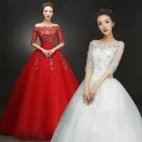 Wholesale 2018 Summer Real Photo Half Sleeves Boat Neck Wedding Dresses Cheap Red White Bride Gowns Custom Made Vestidos De Novia