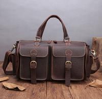 сумки из натуральной кожи оптовых- Vintage Thicken Natural Cow Leather Men's Travel Bags Small Short Trip Travel Totes Fashion Design Cylinder Gym Bag