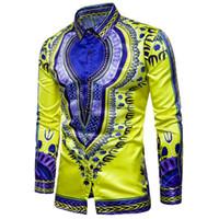 indien malerei großhandel-Männer Shirt Indien Stil Farbdruck Design handbemalt Langarm National Wind Persönlichkeit Shirt