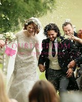 Wholesale sexy black dresses stars for sale - Game of Thrones stars Kit Harington and Rose Leslie Wedding Dresses Long Sleeve Lace Appliques Sheath Belt England Style Bridal Gown