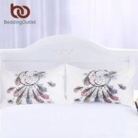 Wholesale new moon bedding for sale - Group buy Beddingoutlet Moon Dreamcatcher Pillowcase Feathers Pillow Case White Bedding Pillow Cover New Hot Home x75cm