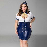 ingrosso sexy latex stewardess-Di alta qualità Blu Naughty Navy Airline Hostess Uniforme Costume Sexy Girl Donne Fantasia Plus Big Size Baby Doll Lingerie PU Latex Abiti