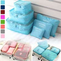 Wholesale pack clothes travel for sale - 6Pcs set Travel Storage Bags Boxes Waterproof Clothes Packing Cube Luggage Organizer Portable Pouch Double Zippers NNA362