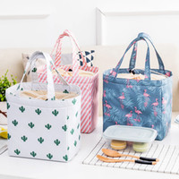 Wholesale thermal insulated cooler bags - Lady Lunch Bag Insulated Reusable Lunch Tote Organizer Cooler Bag Drawstring Lunch Handbag Box Foldable Large Capacity for Woman Girl