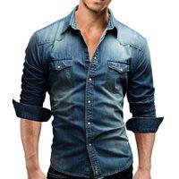 homens slim fit denim camisa venda por atacado-Camisa dos homens Marca 2018 Camisas de Manga Longa Masculina Casual Cor Sólida Denim Slim Fit Camisas de Vestido Dos Homens 3xl 3011