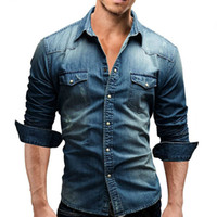 Wholesale mens denim dress shirt - Men Shirt Brand 2018 Male Long Sleeve Shirts Casual Solid Color Denim Slim Fit Dress Shirts Mens 3xl 3011