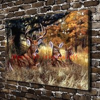 Wholesale Canvas Oil Painting Landscape Forest - Natural Scenery Forest Animal Deer, Home Decor HD Printed Modern Art Painting on Canvas (Unframed Framed)