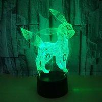 neuheit führte kind lampe groihandel-Neuheit 3D führte kreative Acryl Elves Fisch Touch-Nachtlichter für Baby-Schlafzimmer Cartoon-Dekor-Schreibtischlampe Kid Großhandelsdropshipping