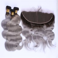 Wholesale two color frontal closure - Dark Roots Gray Ombre Lace Frontal Closure and Bundles 1B Grey Two Tone Body Wave Ombre Peruvian Hair Weaves with Frontal