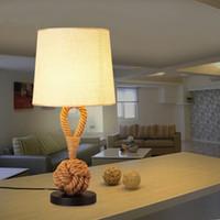 eski masa lambaları toptan satış-Vintage Masa Işık de mesa lambası Kumaş Masa Işık mesa Lambaları RopeTable Lambaları Oda Aydınlatma Armatürleri