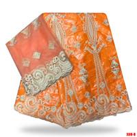 ingrosso perline d'argento della porcellana-tessuto arancione africano Bazin riche getzner con perline tessuto guinea broccato in porcellana Bazin pizzo per abito da sposa B180814 / 1