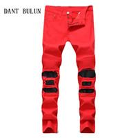 DANT BULUN Herren Jeans Pantcwork Zerrissene Tapered Knie Leder Biker Jeans  Mode Lässig Hip Hop Reißverschluss Rot Schwarz Hosen, 6604 d665c55617